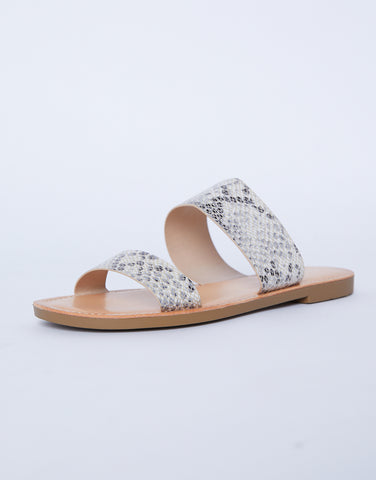 Cool Girl Snake Print Double-Band Sandals