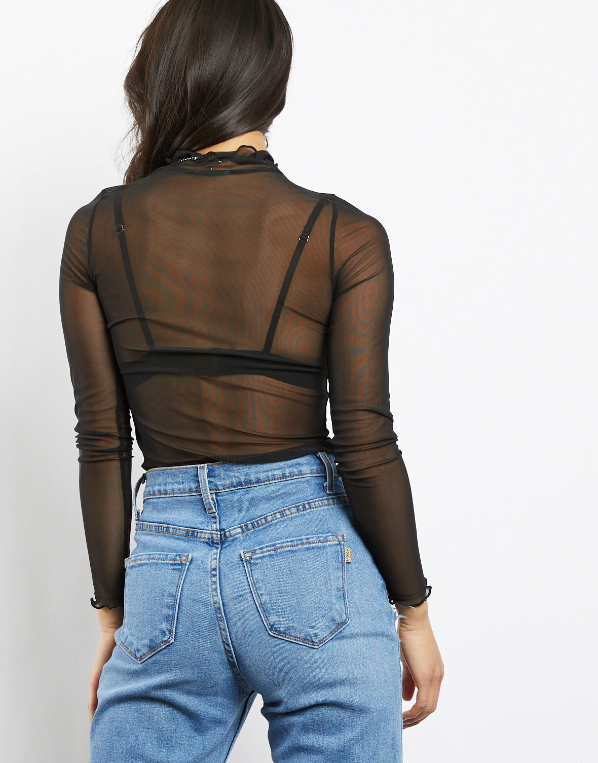 Jane Sheer Mock Neck Top