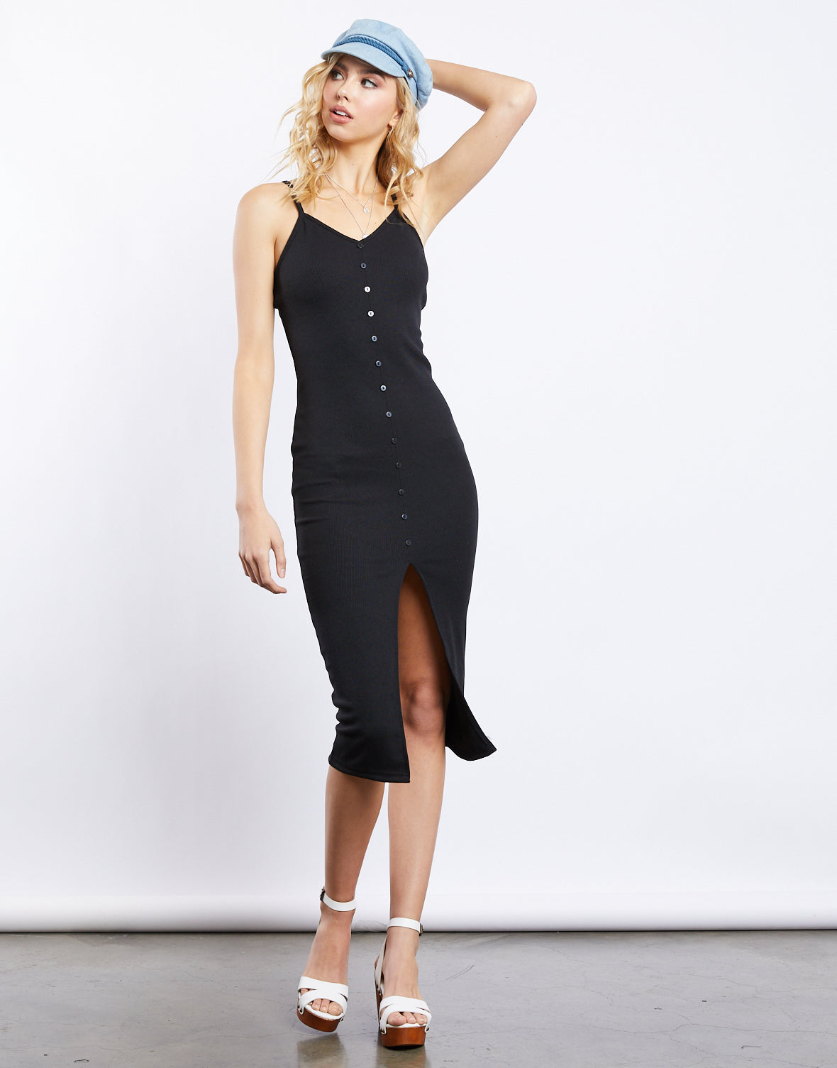Kaleigh Button Front Knit Midi Dress