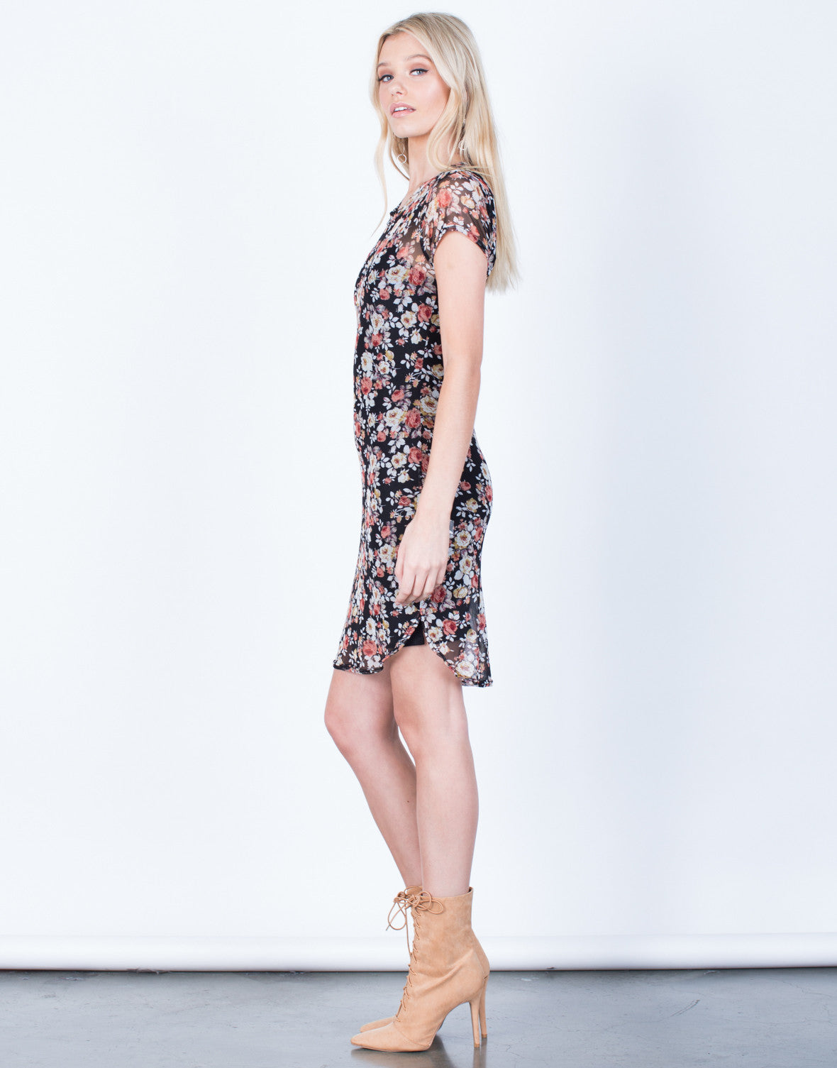 Side View of Floral Mesh Bodycon Dress