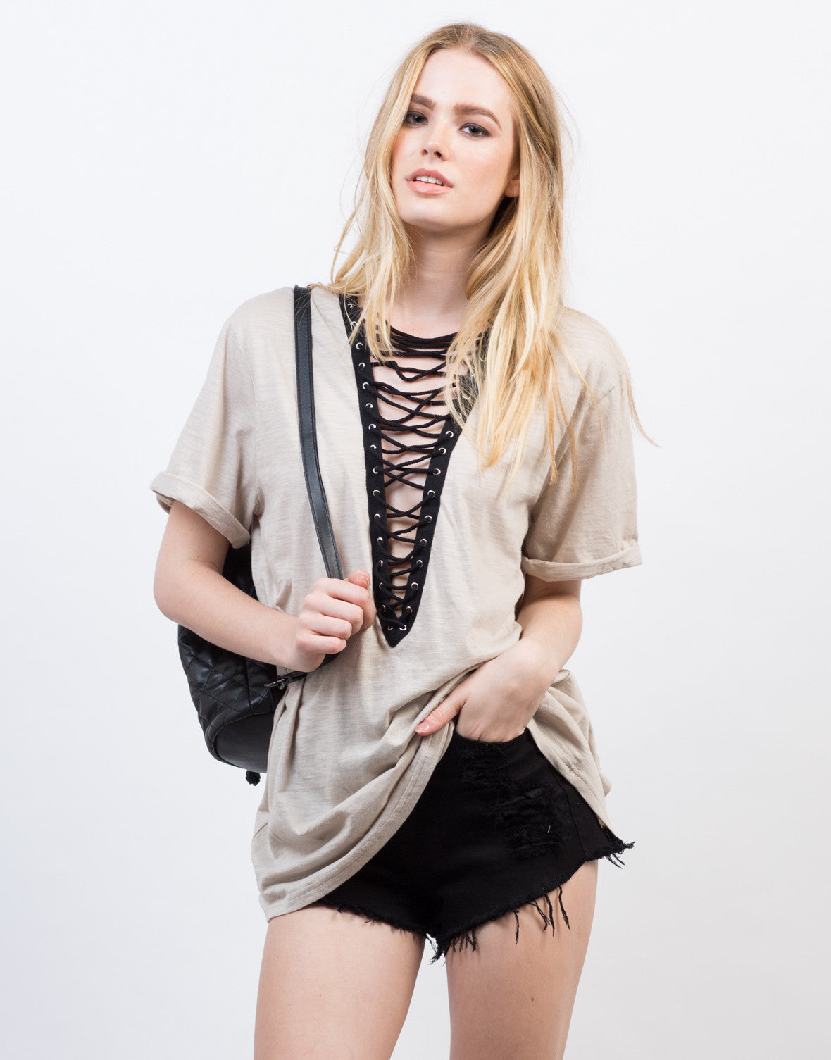 Lace-Up Deep V Tee - 2020AVE