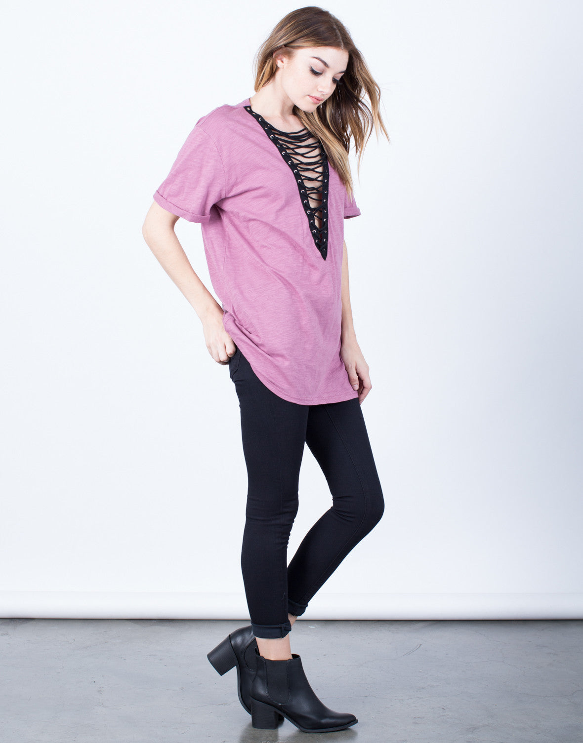 Side View of Lace-Up Deep V Tee