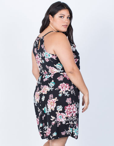 Black Plus Size Blossoming Floral Dress - Back View