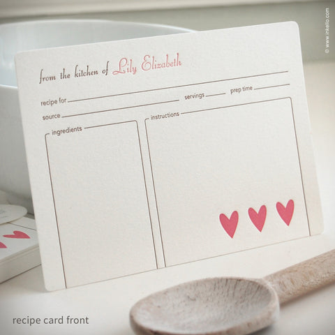 Heart Personalized Recipe Cards (#249)