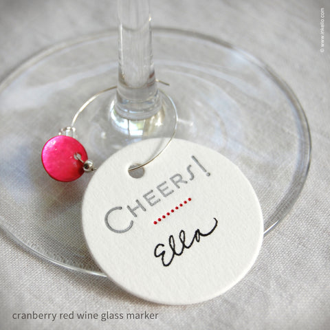 """Cheers"" Dotted Wine Glass Markers (#286)"