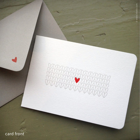 Heart Knitting Note Card (#364)