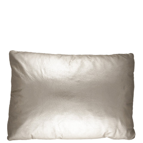 12X16 Leather Throw Pillow - METALLIC SILVER