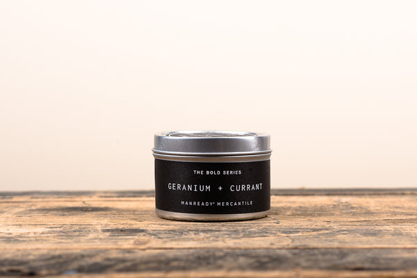 Manready Mercantile Geranium and Currant Travel Candle Bold Series Soy Wax Fragrance Oils Apothecary