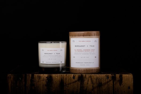 Manready Mercantile Bergamot Teak Soy Wax Candle Noble Series Made in Houston