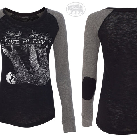 Women's SLOTH 2 (Live Slow) Patch Slub Long sleeve T-Shirt S M L XL Black & Grey