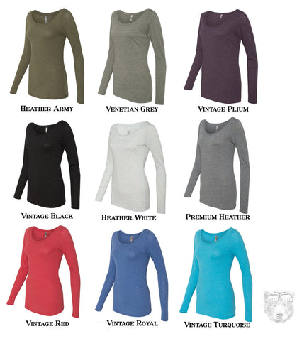 Women's SLOTH 2 (Live Slow) Long Sleeve Scoop Neck -  Tri Blend t shirt [+Colors] S M L XL XXL