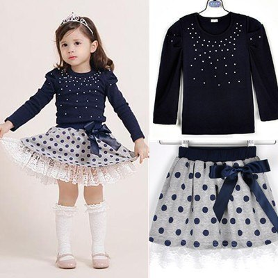 Girls' suits 2017 New arrival Autumn girls T-shirt + skirt 2pcs clothing Diamond dot bow dress children's skirt suit k1