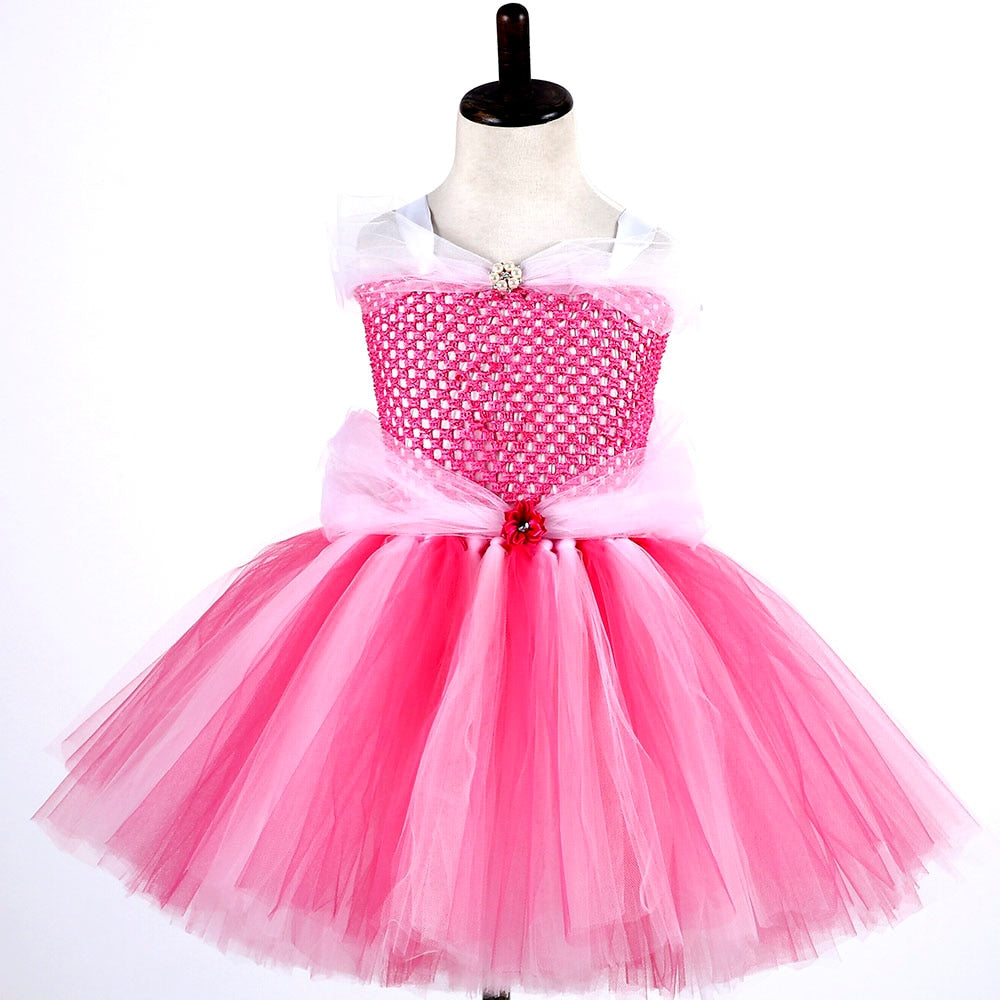 Princess Girl Tulle Tutu Dress Hot Pink Sleeping Beauty Aurora Birthday Party Cosplay Tutu Dresses Halloween Custom for Kids