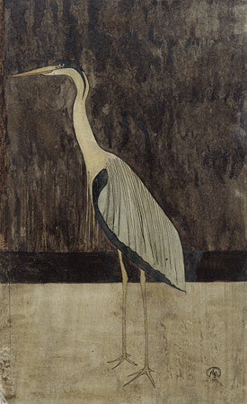 Antique heron bird artwork. Fine art print