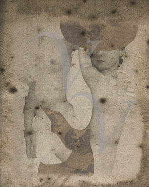 Gemini. Abstract Avant Garde female nudes. Contemporary collage. Fine art print
