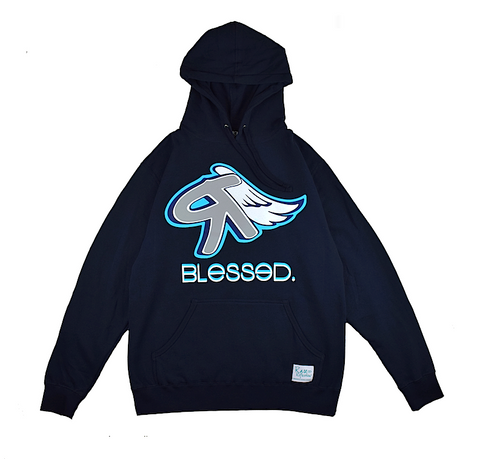 Blessed Hoodie in Navy Blue / Gray / White / Crystal Blue