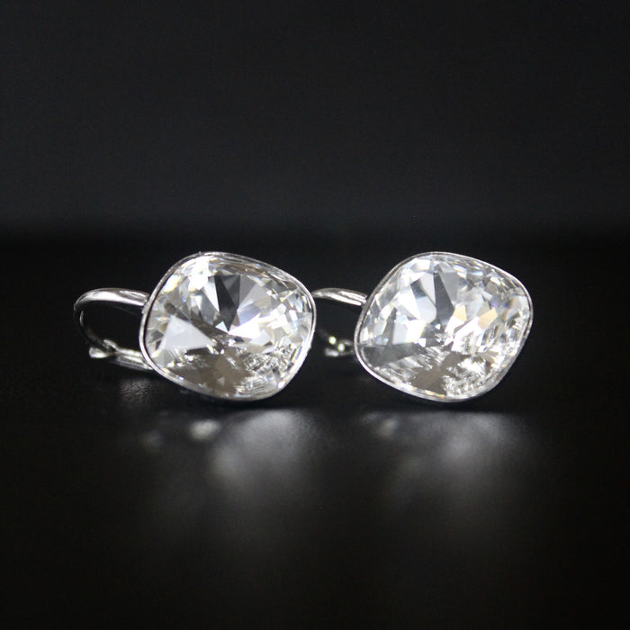 Ceroc Sterling Silver Lever Back 12mm Earrings (Crystal Clear)