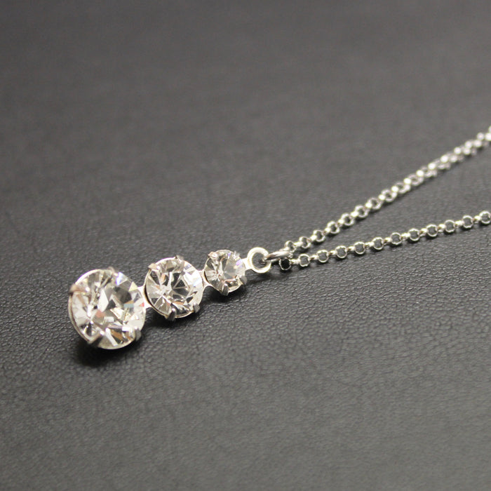 Cha-cha-cha Swarovski Crystal 3 Tier Drop Necklace