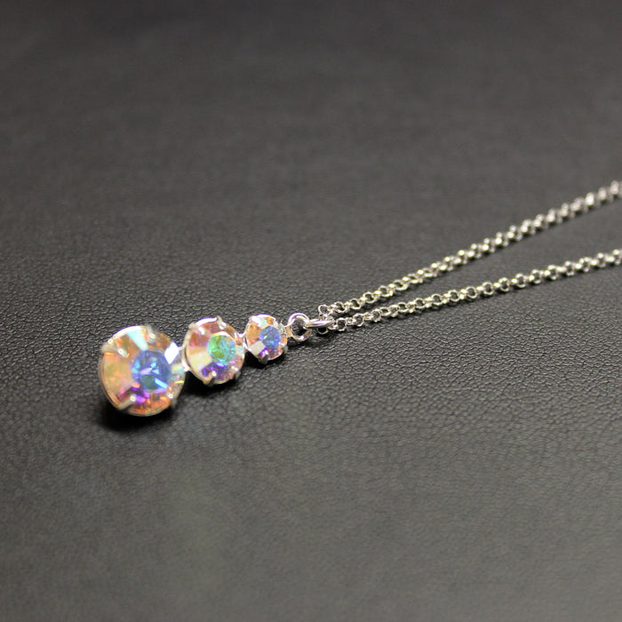 Cha-cha-cha Swarovski Crystal 3 Tier Drop Necklace (Aurora)
