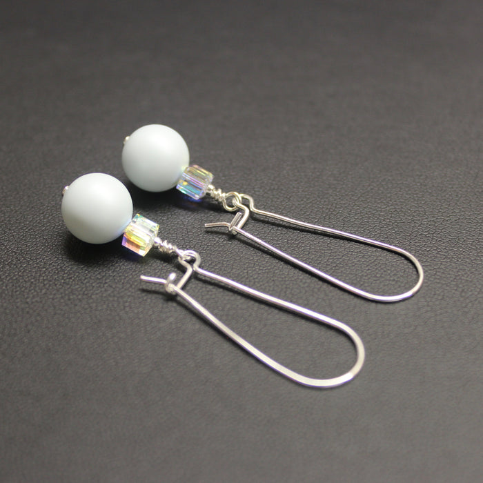 Ballet Swarovski Cube/Pearl Elongated Drop Earrings (Pastel Blue & Aurora)