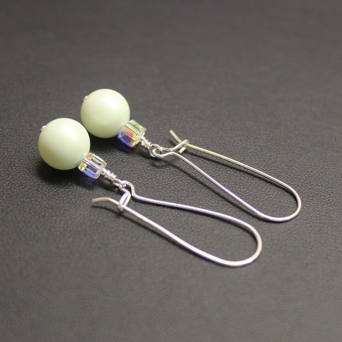 Ballet Swarovski Cube/Pearl Elongated Drop Earrings (Pastel Green & Aurora)