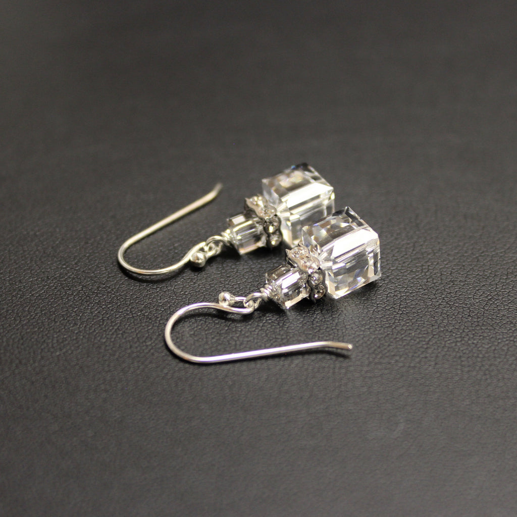 Tango Tier Swarovski Cube Earrings (Crystal)