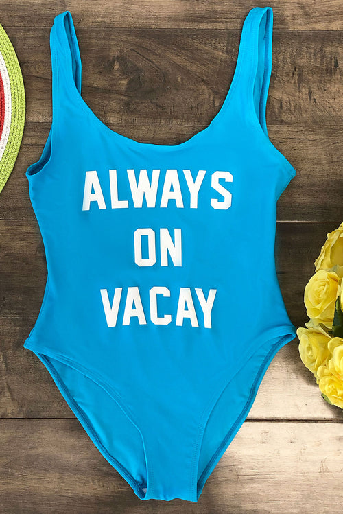 Always On Vacay One Piece Swimsuit - Sky Blue