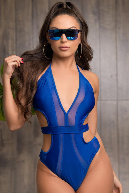 Sunburst One Piece Swimsuit - Royal Blue