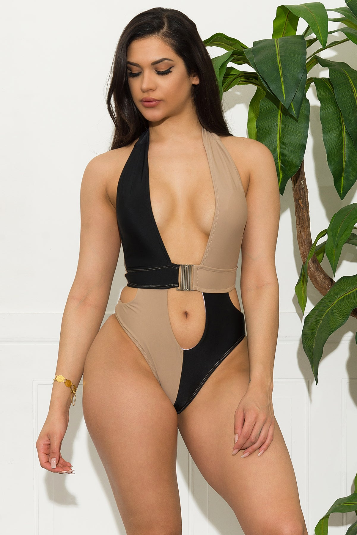 Maldives One Piece Swimsuit - Black/Tan