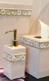Floral Glass and Crystal Bathroom Accessories