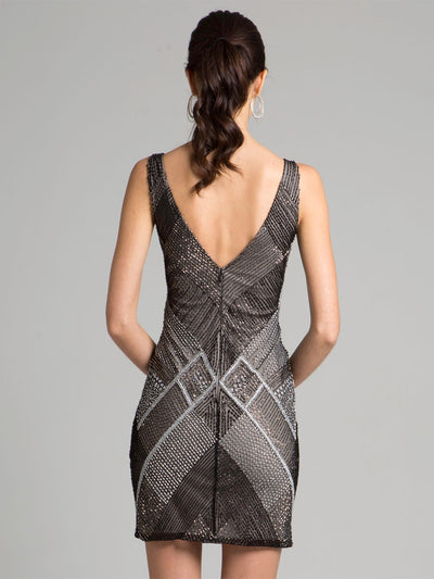 SML33266 - Glam Sleeveless Mini Sheath With Geometric Designs