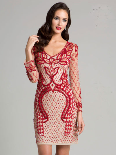 SML33413 - Folkloric Long-Sleeved Dress With Glimmering Lattice Accents