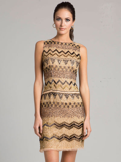 SML33416 - Exude A Tribal Vibe In This Simply Styled Short Dress