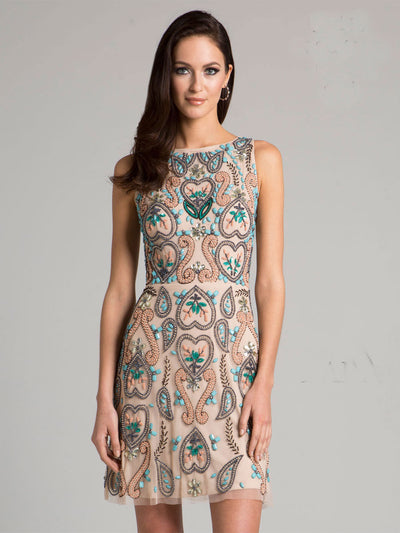 SML33418 - Whisper-Light Sleeveless Cocktail Dress With Layered Depth
