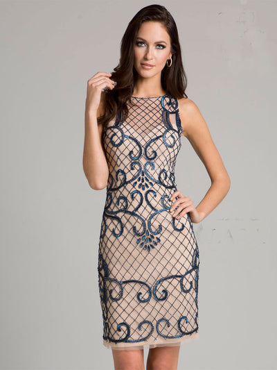 SML33420 - Tony Trellised Short Dress With Creative Contrasts