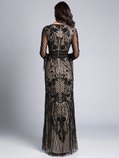 SML33435 - Whisper-light Long-sleeved Evening Gown With Slender Flute