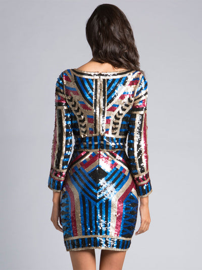 SML33440 - Multi Dimensional Sheen Mini Dress