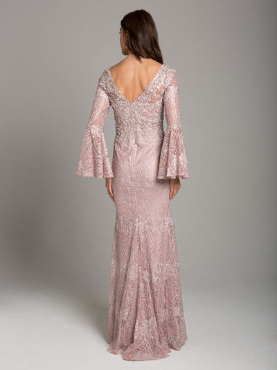 SMC29887 - Long-Sleeved Tonal Beading and Lace Evening Gown