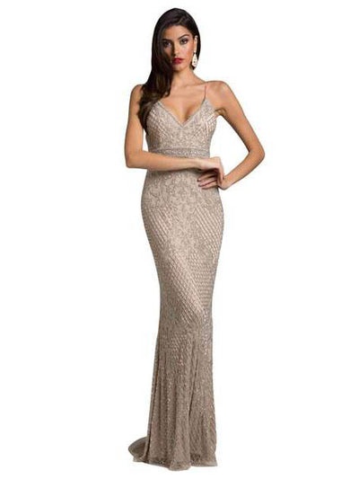 SMC29904 - Draped Sleeveless Evening Gown With Tone-on-tone Designs