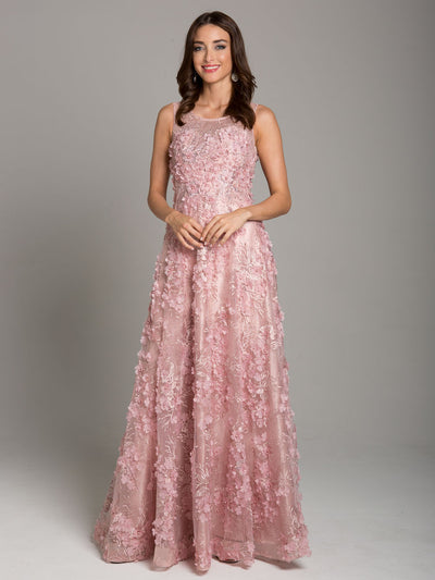 SMC29943 - Petal-strewn Sleeveless Evening Gown With Lithe Layers