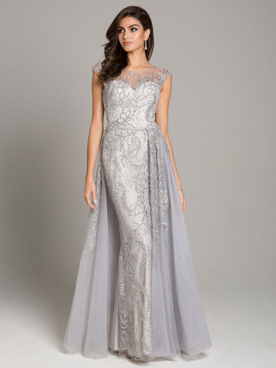SMC33621 - Awe-inspiring Cap-sleeved Gown With Airy Overskirt