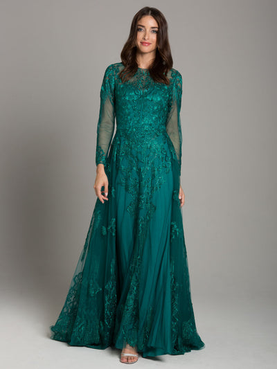 SMC33626 - Divine Long-sleeved Evening Gown With Open Overskirt
