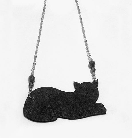 Handcrafted black cat necklace