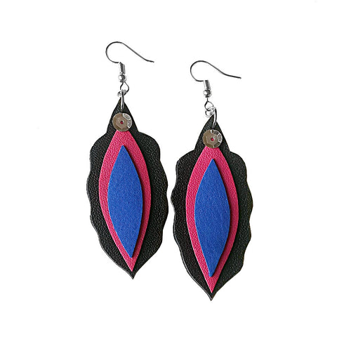 recycled leather pride earrings