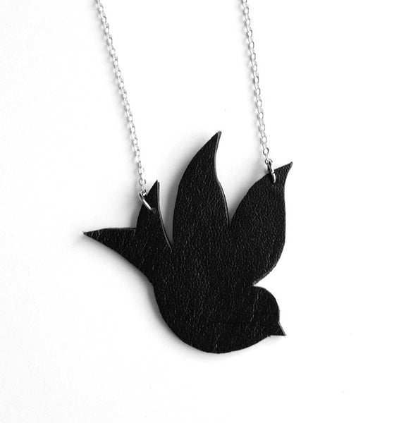 recycled leather sparrow necklace