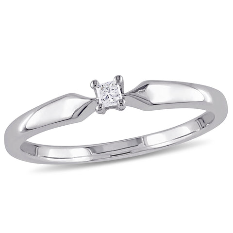0.05 CT Princess Diamond TW Solitaire Ring Silver