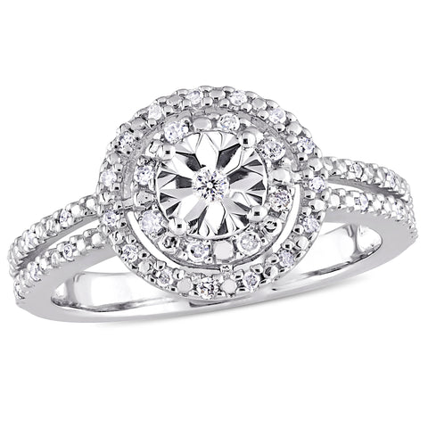1/5 CT TW Diamond Halo Split Shank Engagement Ring in Sterling Silver