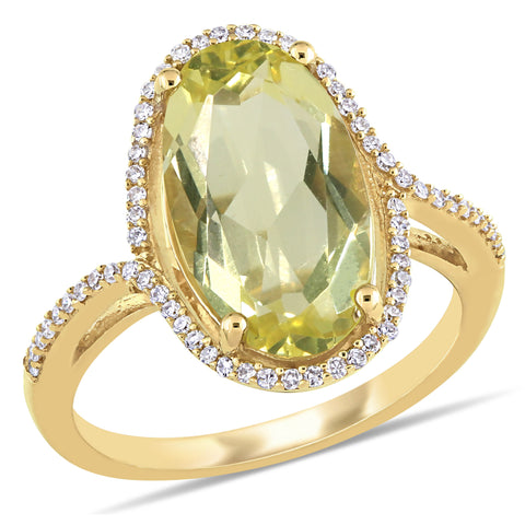 7 Ct TGW Oval Shape Lemon Quartz and 1/5 CT TW Diamond Halo Ring in 14k Yellow Gold