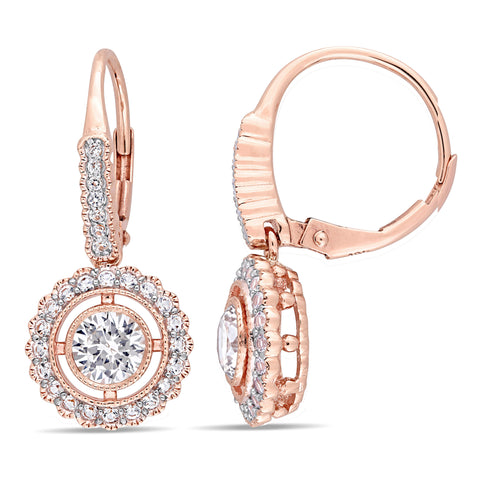 1 4/5 CT TGW Created White Sapphire Circular Halo Leverback Earrings in 10k Rose Gold