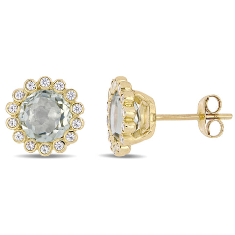 2 7/8 CT TGW Green Amethyst and White Sapphire Halo Stud Earrings in 10k Yellow Gold